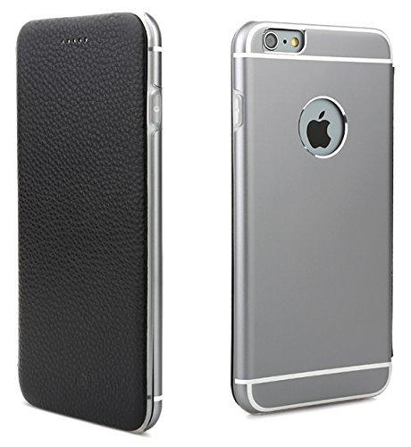 OKCS Binli echt Leder Schutzhülle kompatibel mit iPhone 6 Plus, 6s Plus mit stylischer Aluminium Rückseite Hard Cover Flip Case - Schwarz Flip Leder Hard Case