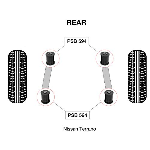 PSB PSB594 Bush Terrano MK2/R20 (93-07) Kit de baguettes de bras supérieur et inférieur arrière