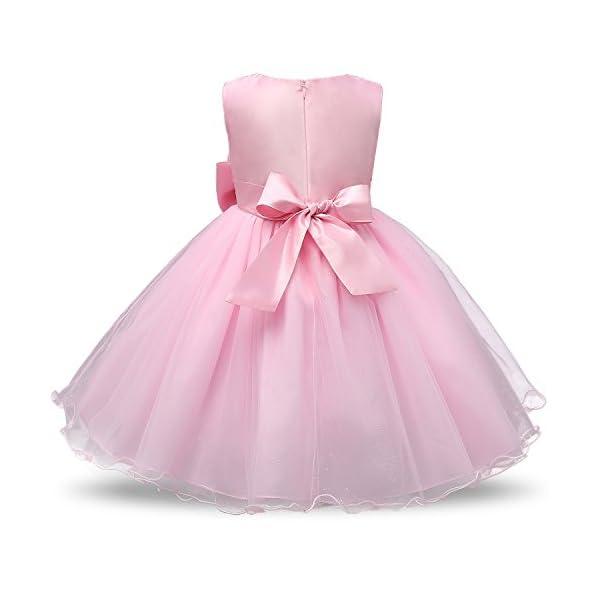 f9168c573 NNJXD Vestido de Fiesta de Princesa con Encaje de Flor de 3D sin Mangas  para Niñas ...
