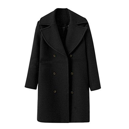Damen Mäntel,Honestyi Damen Mode lockern Winter warm Langarm Knopf wolle Mäntel (M, Schwarz) (Damen Handtasche Wolle)