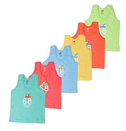 Zero Baby Sleeveless Vests for 6-12 Months, Cotton, Pack of 6