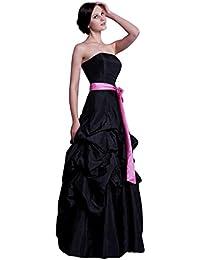 Schwarzes kleid mit rosa schleife