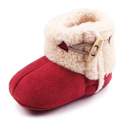 Auxma Baby schönen Herbst Winter warme weiche Sohle Schneeschuhe weiche Krippe Schuhkleinkind Stiefel (12cm(0-6 Monate), Rosa) Rot