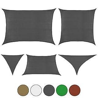 BB Sport Sonnensegel in verschiedenen Größen und Farben Sonnenschutz Windschutz Schattenspender, Farbe:Granit, Größe (Fläche):3m / 4m x 3m