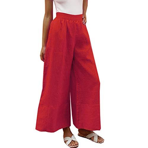 LInkay Damen Hose, Sommer Hohe Taille Locker LäSsig Yoga-Hose Leinen-Taschen Aus Baumwolle Sport Breites Bein Strumpfhose Mode 2019 (Rot, Large)