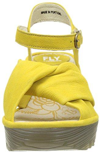 FLY London Yesh712, Sandales Compensées Femme Jaune (Lemon 007)