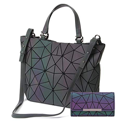 Gupiar Damen Handtasche Frauen Umhängetasche Clutch Abendtasche Geometrische Ling Grid Leuchtende Farbwechsel Kreuz Körper Tasche (Leuchtende Large + Brieftasche F)