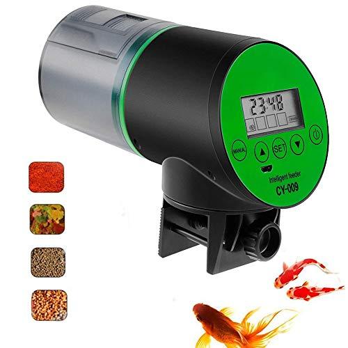 Cacoffay Automatisch Intelligent Fisch Feeder Wiederaufladbar Timer Hoch Kapazität Fisch Feeder mit USB Ladegerät Kabel, Fisch Essen Spender zum Aquarium oder Fisch Panzer -