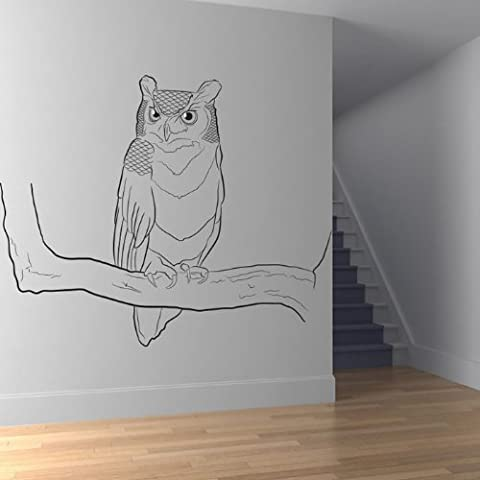 Owl On Branch Adesivo Art Uccello Wall Sticker disponibile in 5 dimensioni e 25 colori Extra Grande Turchese