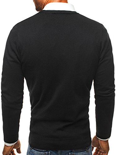 OZONEE Herren Pullover Feinstrick Sweatshirt Pulli BRUNO LEONI M005 Schwarz