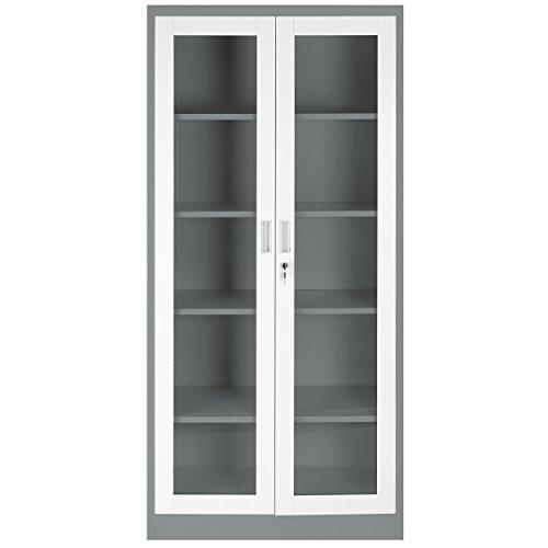 schrank dunkelgrau abschliessbarer aktenschrank mit glas. Black Bedroom Furniture Sets. Home Design Ideas