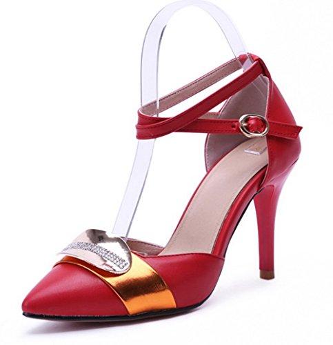 AllhqFashion Damen Schnalle Stiletto PU Leder Gemischte Farbe Spitz Zehe Pumps Schuhe Rot