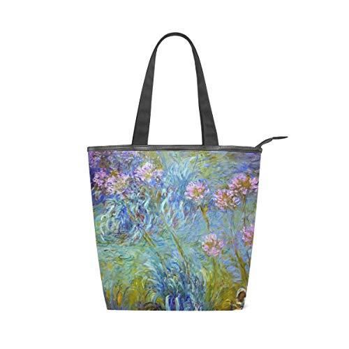 XiangHeFu Damenhandtaschen Kunst Abstrakt Druck Blume Tote Canvas Umhängetasche -