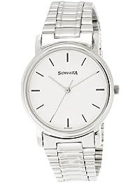 Sonata Analog White Dial Men's Watch-NJ1013SM01C