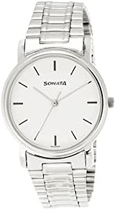 Sonata Analog White Dial Men's Watch -NJ1013SM01C