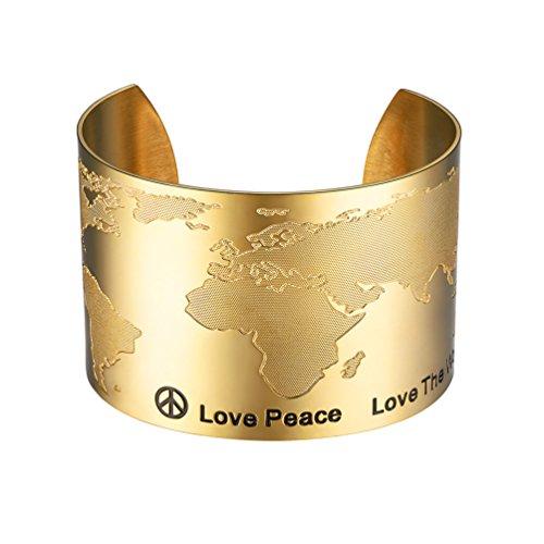 PROSTEEL 18K vergoldet Armreif Weltkarte Design Offener Armband 50mm breit Armspange Armschmuck für Frauen Mädchen Weihnachten Geburtstag Geschenk(Gold)