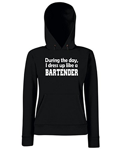 T-Shirtshock - Sweats a capuche Femme BEER0209 During the day i dress up like a Bartender Noir