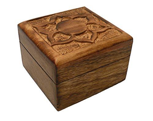 Schatulle aus Palisander-Holz, Geflammt, Motiv Lotusblüte, Größe Ca. 10 x 10 x 6,5 cm, Geschenk-Box, Schmuck-Kästchen