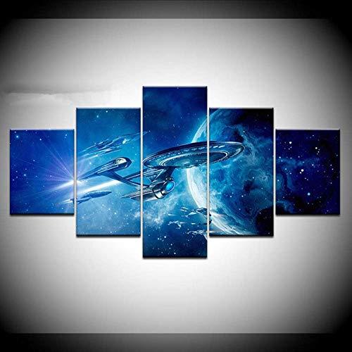 Wuwenw Modulare Malerei Leinwand Wandkunst Bilder Home Decoration 5 Stück Star Trek Space Ufo Landschaft Wohnzimmer Moderne Plakatrahmen, 16X24 / 32/40 Zoll, Ohne Rahmen
