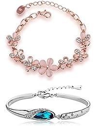 Shining Diva Fashion Combo of Two Crystal Charm Bracelets for Girls & Women