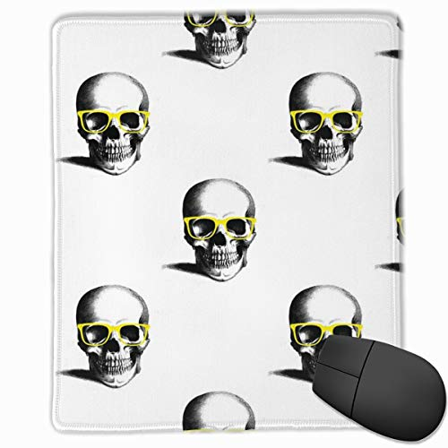 Hipster Skull Wayfarers, Yellow Mouse Pad Custom Design Gaming Mouse Mat Computer Mouse Pads with Non-Slip Neoprene Backing 9.8 X 11.8 inch (25 X 30 cm)