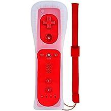 Prous WII Controller,WII Remote XW17 Nintendo WII Ferbedienung mit Silikonhülle und Handschlaufe für WII und WII U Rot
