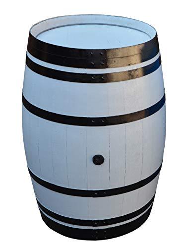 Temesso Stehtisch Tisch aus Holzfass, Gartentisch Weinfass, Fass, Barrique Tisch aus Eiche Holz grau lackiert mit schwarzen Ringen (Fass geschlossen)