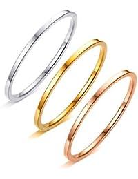 AAJewels Anelli Tricolore impostati per Le donnes Signore 3 Colori Anelli Midi 316L in Acciaio Inox Insieme dell'anello 1MM Larghezza Argento Oro Oro Rosa Anello