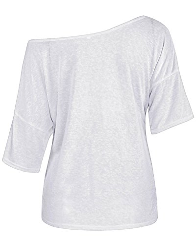 Butterme Sexy Damen Sommer Schräg lose Schulter Kurzarm Bluse Beiläufiges Schulter-Off Hemd T-Shirt Tank Tops Weiß