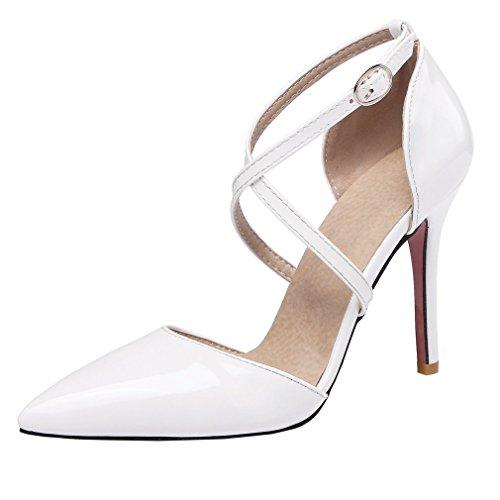 3cd67c8c3a9fc8 YE Damen Spitze Riemchen High Heels Stiletto Lackleder Pumps mit 10cm Absatz  Party Elegant Kleid Schuhe