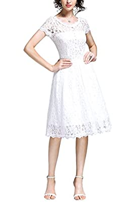 OWIN Women's 1950s Vintage Retro Floral Cocktail Party Swing Dress with Lace Neck