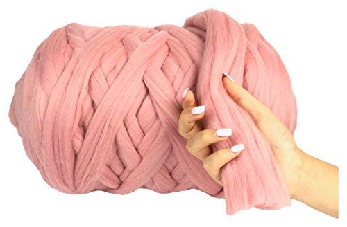 100% Merino Wolle geschoben Garn Super Soft 25Micron Extra Dick | 4–5cm |, Hand stricken, Decke, Überwurf, Schals, Roving, Spinning, 13Farben, babyrosa, 1 kg (3x5 Wolldecke, Die)
