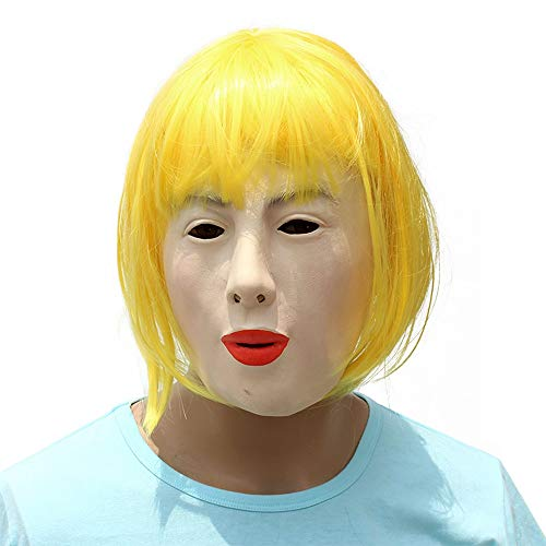 XIAOMAN Blonde Schönheit Kopf Maske Realistische Latex Gesichtsmaske Halloween Cosplay Kostüm Weihnachtsfeier Rolle Spielen Spielzeug ( Color : Yellow , Size : One Size ) (Lustige Blonde Halloween-kostüme)