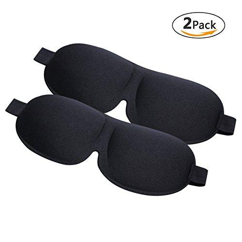 Aresmer Schlafmaske 2er Pack Augenmaske zum Schlafen 3D konturierte Form Leichte und Bequeme Schlafbrille für Reisen, Nickerchen, Schichtarbeit (Schwarz & Schwarz) (Kurve-design-lösungen)