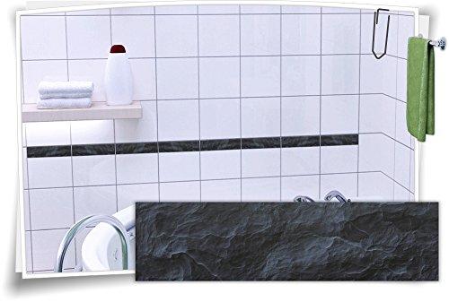 Fliesenaufkleber Fliesenbordüre Bordüre Fliesen Granit Mramor Stein Aufkleber, 20 Stück, 20x5,2cm (BxH)