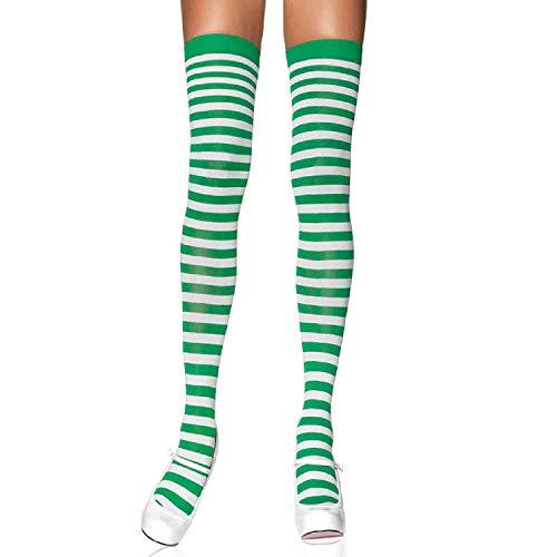 Kostüm Strumpf Weihnachts - LEG AVENUE 6005 - Overknee Halterlose Strümpfe Mit Streifen, Einheitsgröße (EUR 36-40), weiß/kelly grün, Damen Karneval Kostüm Fasching
