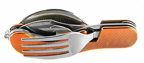 Huntington 4-Function Camping Fork/Knife/Spoon/Bottle Opener Set, metal, red,