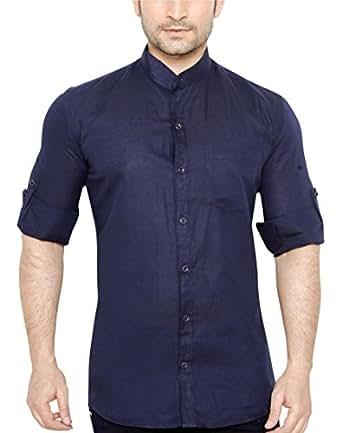 Globalrang Men'S Linen Stand Collar Navy Blue Casual Shirt (Medium)