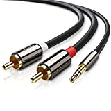 Cinch Kabel UGREEN Stereo 3.5mm Klinke auf 2 Cinch Y Splitter Chinch Kabel Audiokabel Klinkenkabel mit Winzigem Metallstecker (2M)