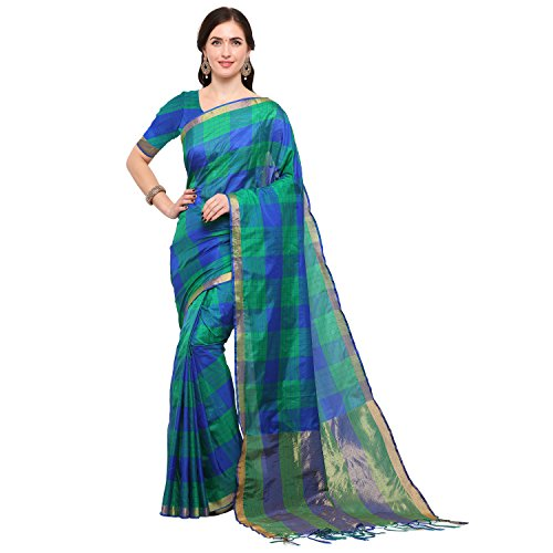 Kimisha Green & Blue Silk Blend Ikat Saree
