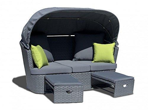2er Loungesofa 'Malibu' Gartensofa Gartenmöbel Aluminium Rattan Geflecht grau mit Polster Twin...