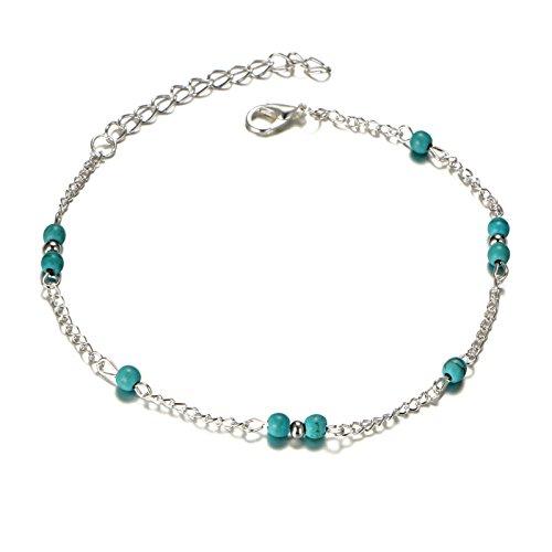AmDxD Schmuck Fusskette Türkis Perlen Indisch Vintage Damen Versilbert Fußkettchen Silber Länge 27.5CM