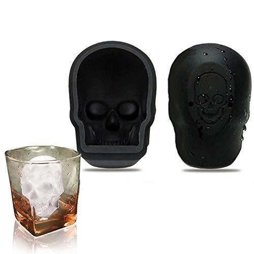LAWOHO Ice Cube Trays Mold - 3D Schädel Flexible Silikon-Eiswürfelbereiter für Whisky-Getränke, Macht riesige Gefrorene Schädel, BPA-frei