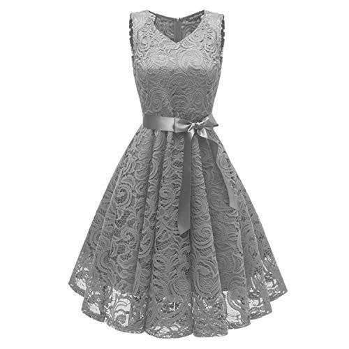 ZLDDE Damen V-Ausschnitt Kurz Brautjungfer Kleid Cocktail Party Floral Kleid Grau
