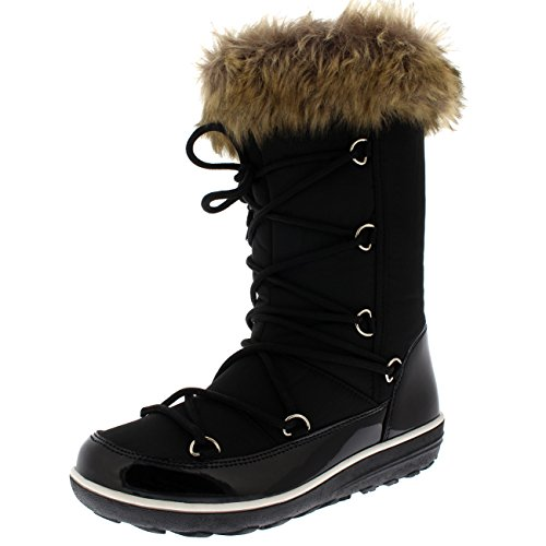 Polar Boot Damen Kunstpelz Thermal Warm Winter Schnee Regen Wasserdicht Knie Hoch Stiefel - Schwarz - UK5/EU38 - YC0475 (Boot Lange Knie)