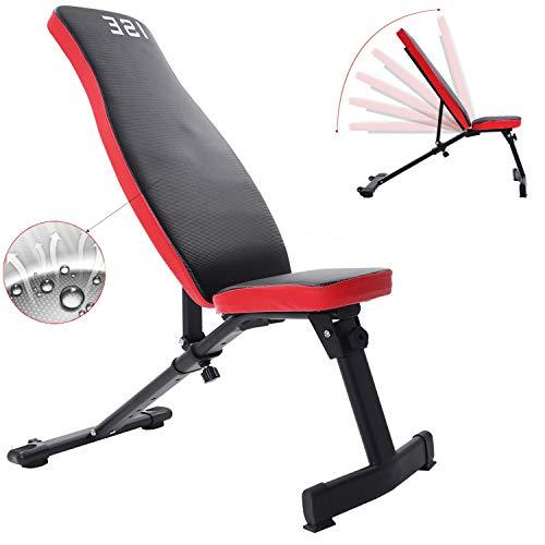 ISE Banc de Musculation Pliable Banc de Poids Réglable perméable à l'airInclinable Exercice Gymnastique à Domicile, Dossier réglables en 6 Positions, Formation d'exercice Max 250KG SY-5021