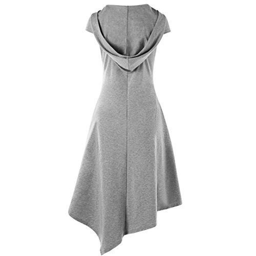 QUINTRA Damen Kleid Sommer Lose Minikleid Cocktail Party Kleid (Grau, L)