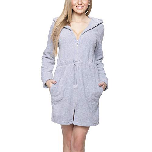 Aquarti Damen Morgenmantel mit Kapuze und Reißverschluss, Farbe: Grau, Größe: M