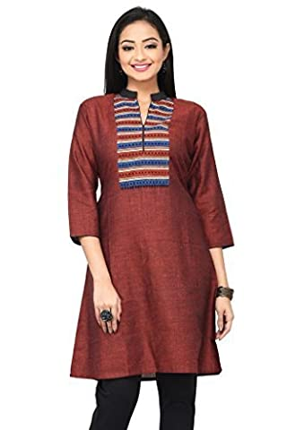 Rene Women Maroon Linen Stand Collar With Prited Yoke In Front 3/4 Sleeve Straight Fit Long Kurti