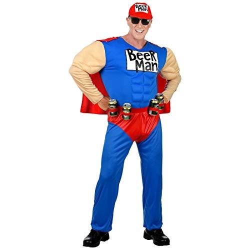 NET TOYS Lustiges Beerman-Kostüm für Männer | Blau-Rot in Größe M (50) | Witzige Herren-Verkleidung Bier-Kostüm Superheld | Genau richtig für Straßenkarneval & - Super Bier Mann Kostüm